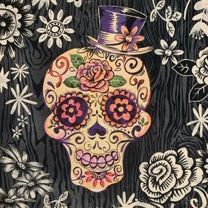 Multicolor Sugar Skull Canvas Print EUC
